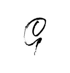 Letter g handwritten by dry brush rough strokes vector