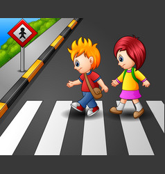 little girl and boy crossing the street vector image