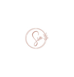 Luxury handwritten letter s with leaf flower logo vector