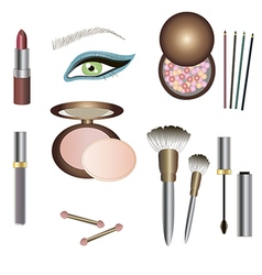 Make up details - sets of beauty products vector image