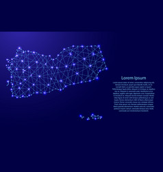 Map of yemen from polygonal blue lines and glowing vector