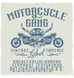 motorcycle gang typeface poster vector image
