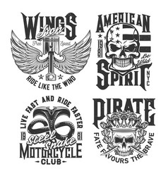 motorcycle races club skull or wing t-shirt print vector image