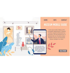 Museum mobile guide flat landing page vector