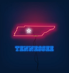 Neon map state of tennessee on dark background vector