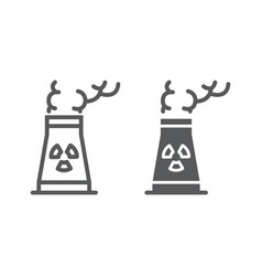 Nuclear power station line and glyph icon ecology vector
