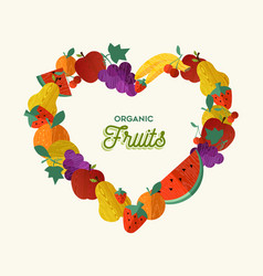 organic fruit food concept for healthy eating vector image