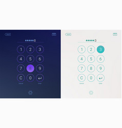 passcode interface for lock screen login or enter vector image