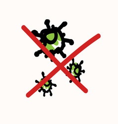 Picture crossed out corona virus icon image vector
