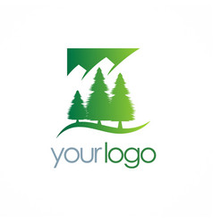 Pine tree mountain logo vector