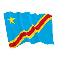 political waving flag of congo vector image