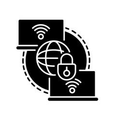 Private wan black glyph icon vector
