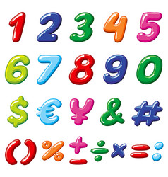 Rainbow candy numbers and glossy funny vector