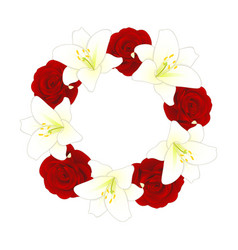Red rose and white lily flower christmas wreath vector