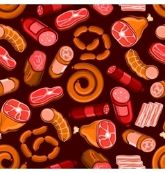 Sausages and meat seamless pattern background vector