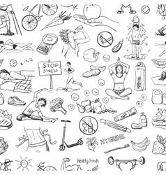 seamless pattern with healthy lifestyle icons vector image
