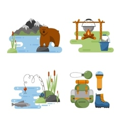 set camping equipment icons vector image