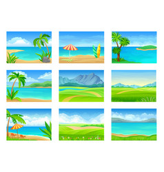 set different summer landscapes vector image