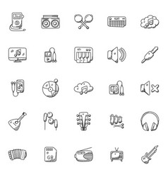 Set music instruments doodle icons vector