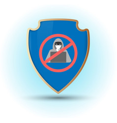 Shield with stop hacker simbol vector