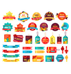 shopping autumn stickers on vector image