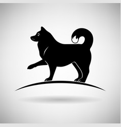 silhouette of a dog giving a paw vector image vector image