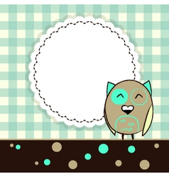 Template greeting card with owl vector
