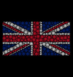 United kingdom flag pattern of cog icons vector