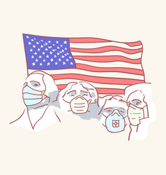 Usa founding fathers flag hand drawn style vector