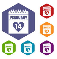 Valentines day calendar icons set hexagon vector