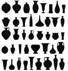 Vase set pot pottery vases flower home interior vector