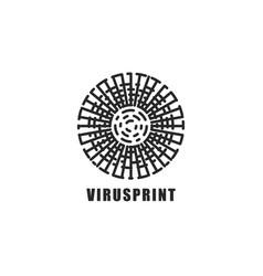 Virus logo circle shape sticker mockup original vector