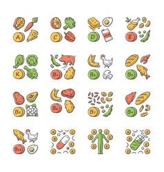 Vitamins color icons set a c d e k b natural food vector