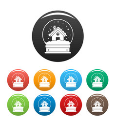 wood house glass ball icons set color vector image