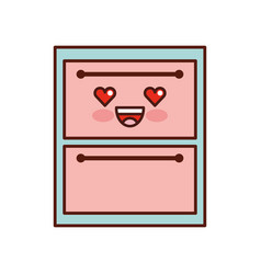 wooden drawer kawaii character vector image