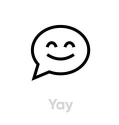 yay message social icon editable line vector image