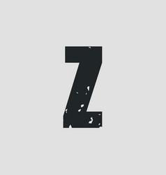 z letter grunge style eps10 vector image
