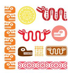 aztec animals mayan snake ancient mexican design vector image