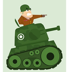 Cartoon tank with army soldier vector image vector image
