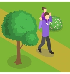 Family Walking Isometric Design vector image vector image