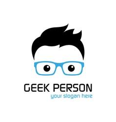 Geek person logo template vector