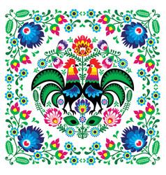 Polish floral folk art square pattern vector