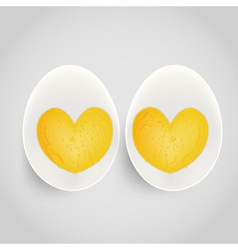 boiled egg with yolk in heart shape vector image