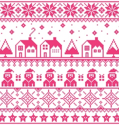 Christmas jumper or sweater pink seamless pattern vector