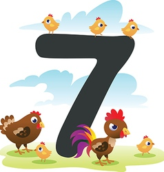 Collection number for kids farm animals - number 7 vector image vector image