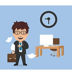 Finished time of businessman in hard working vector image