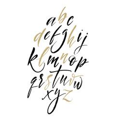 brush letters handwritten script alphabet hand vector image
