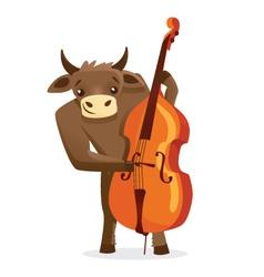 Musical animals Bull Bass vector image vector image