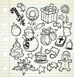 set of cute christmas doodles vector image vector image