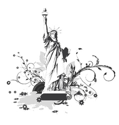statue with floral and splash vector image vector image